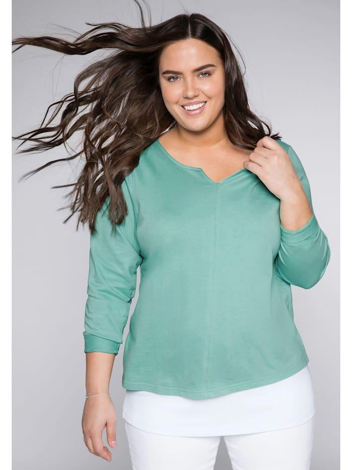 Sheego Sweatshirt aus reiner Baumwolle, jade