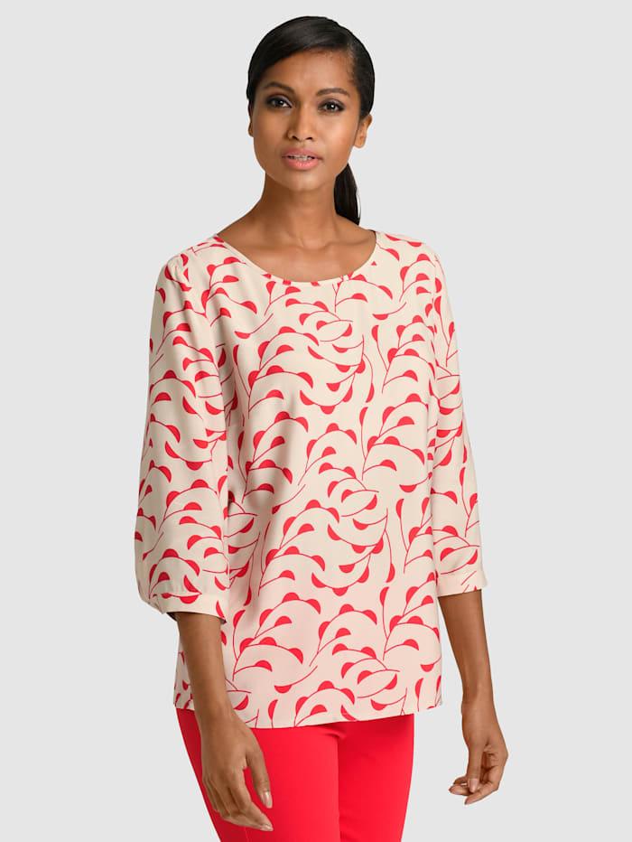 Alba Moda Blouse à motif floral, Beige/Rouge
