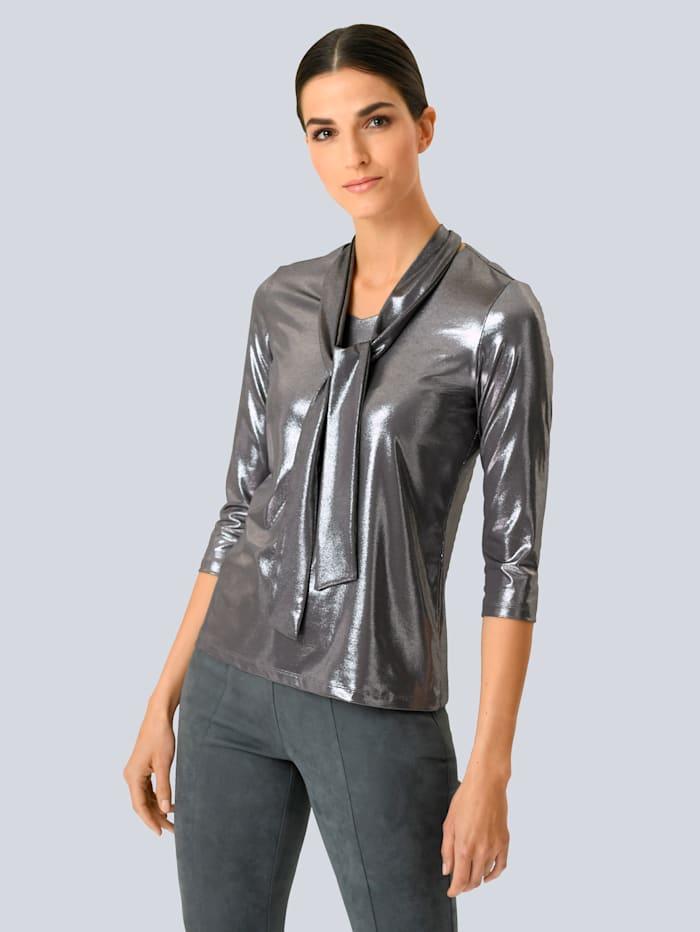 Alba Moda Shirt in beschichteter Qualität, Silberfarben