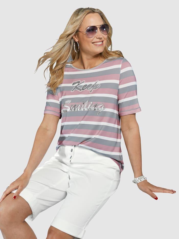 MIAMODA Shirt mit glänzendem Foliendruck, Grau/Rosé/Weiß