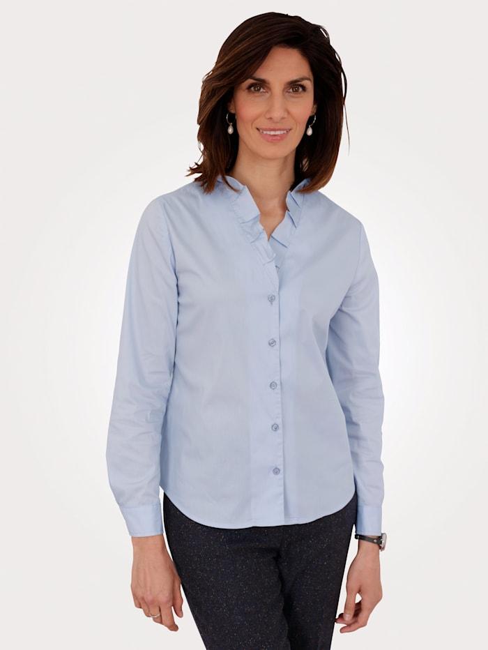 MONA Bluse mit Faltendekoration, Hellblau