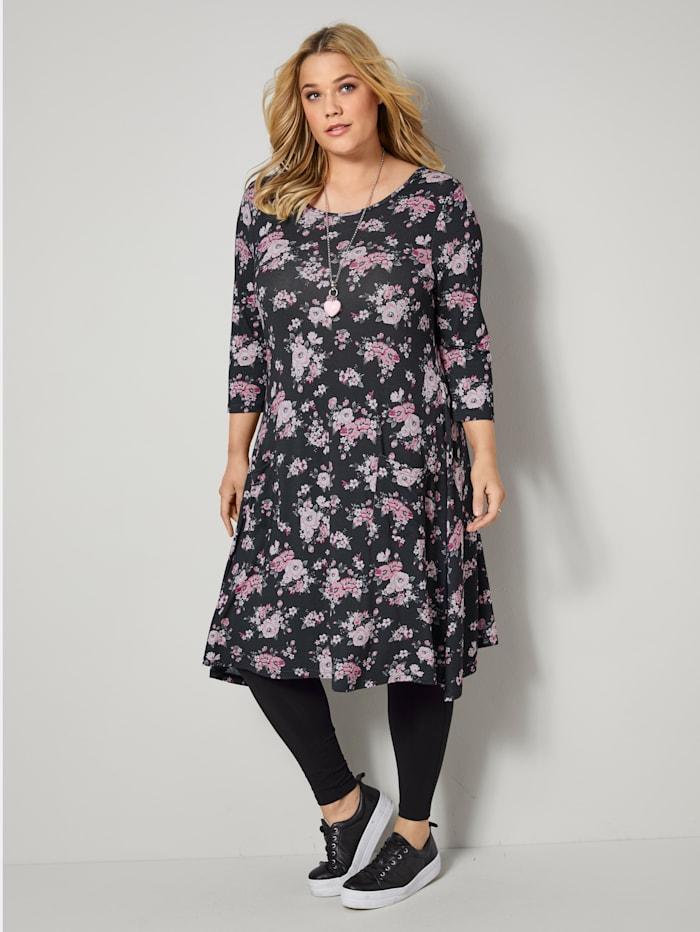 Janet & Joyce Jersey jurk met bloemenprint, Zwart/Aubergine/Olijf/Offwhite