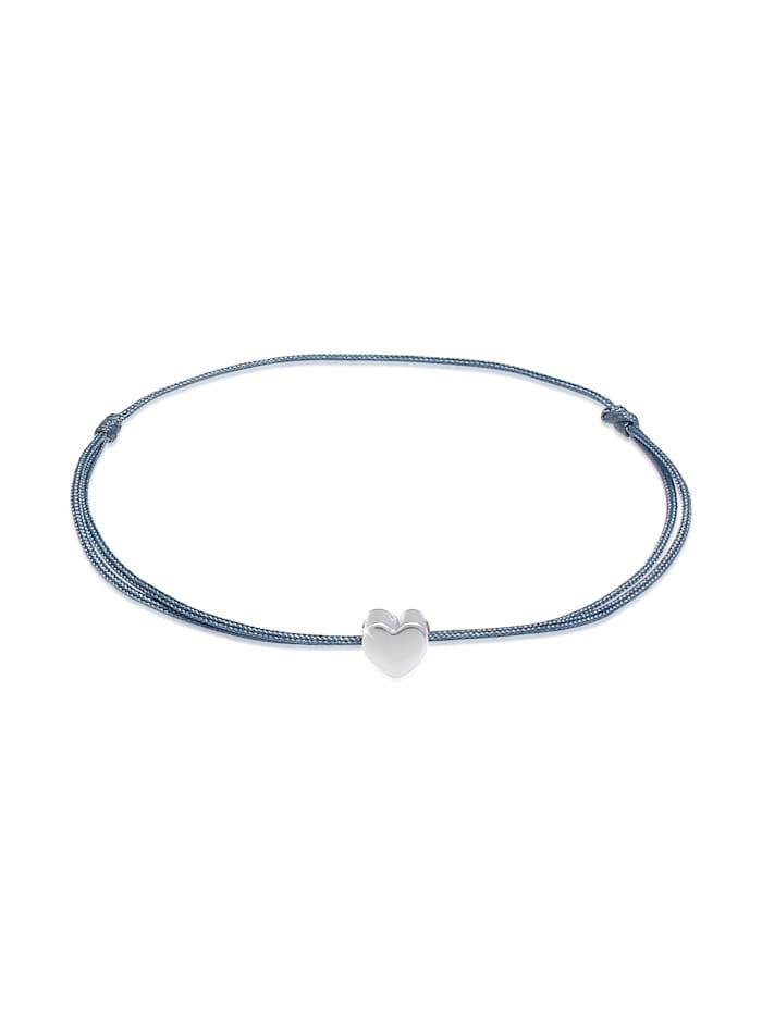 Elli Armband Herz Liebe Trend Textilband 925 Silber, Silber