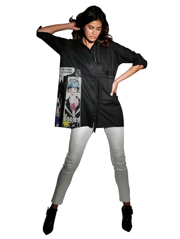 Bluse mit Pailletten- und Strassstein-Verzierung