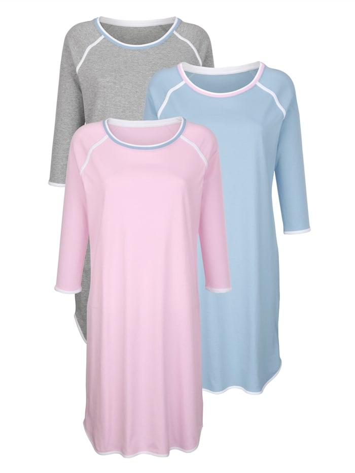 Blue Moon Nachthemden mit zweifarbiger Kontrastpaspel, Rosé/Blau/Grau