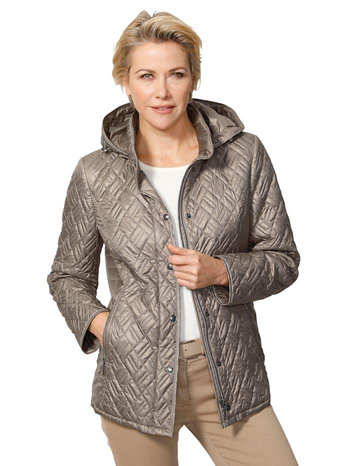 MONA Gewatteerde jas met afknoopbare capuchon, Zilvergrijs