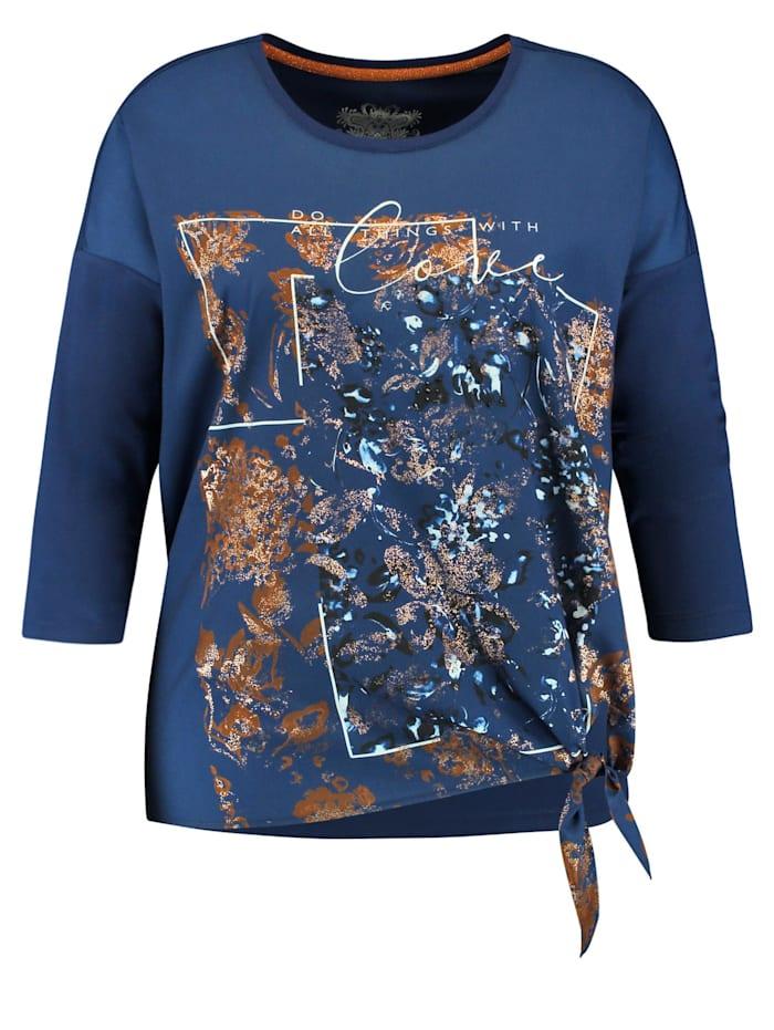 Samoon Blusenshirt mit Knoten-Detail, Deep Ocean gemustert