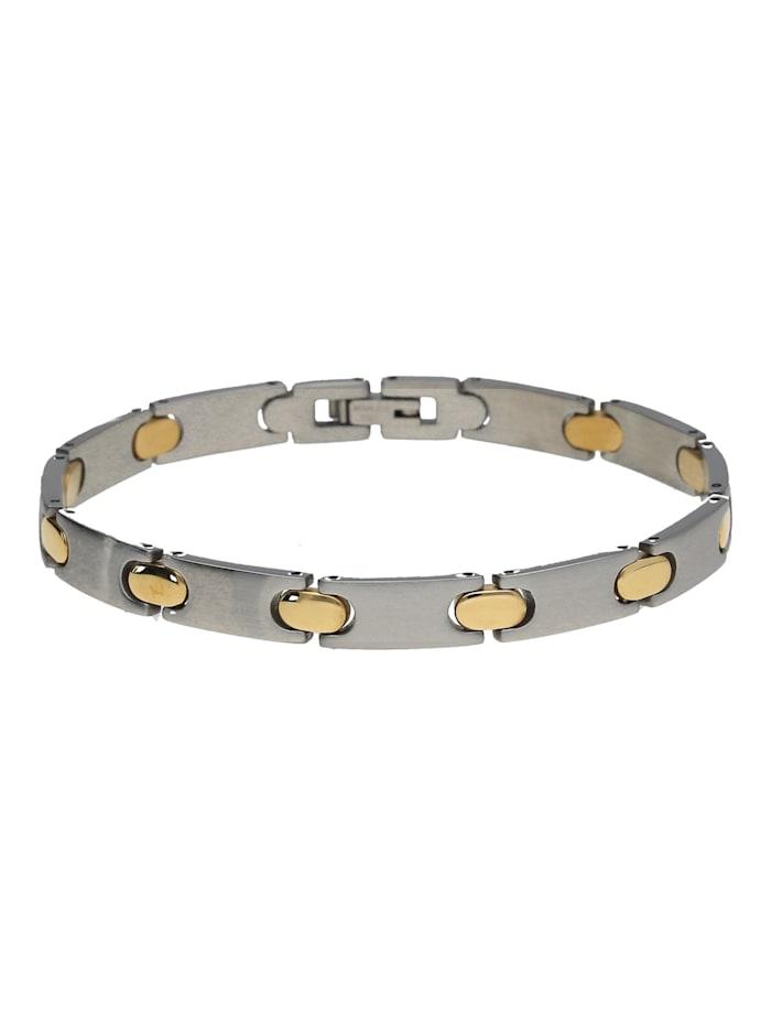 Jacques Charrel Armband edel mit ovalen Zwischenteilen in bicolor, Edelstahl, Goldfarbig, silberfarbig, bicolor