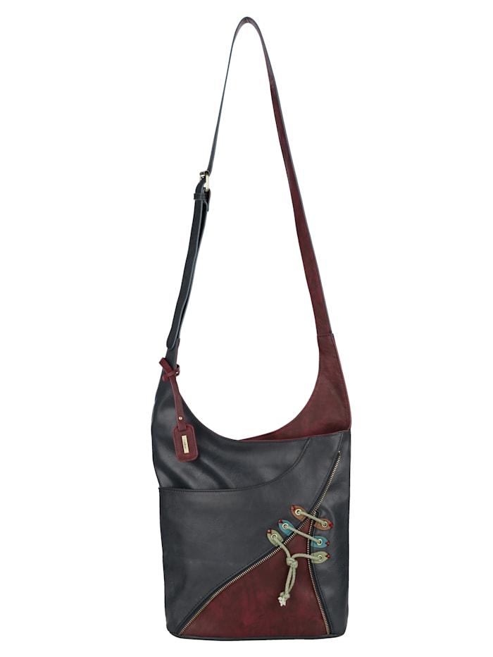 Rieker Shoulder bag with decorative zip, Navy/Bordeaux