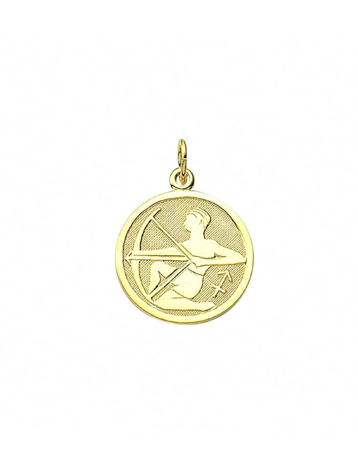 1001 Diamonds Damen & Herren Goldschmuck 333 Gold Sternzeichen Anhänger Schütze Ø 16 mm, gold