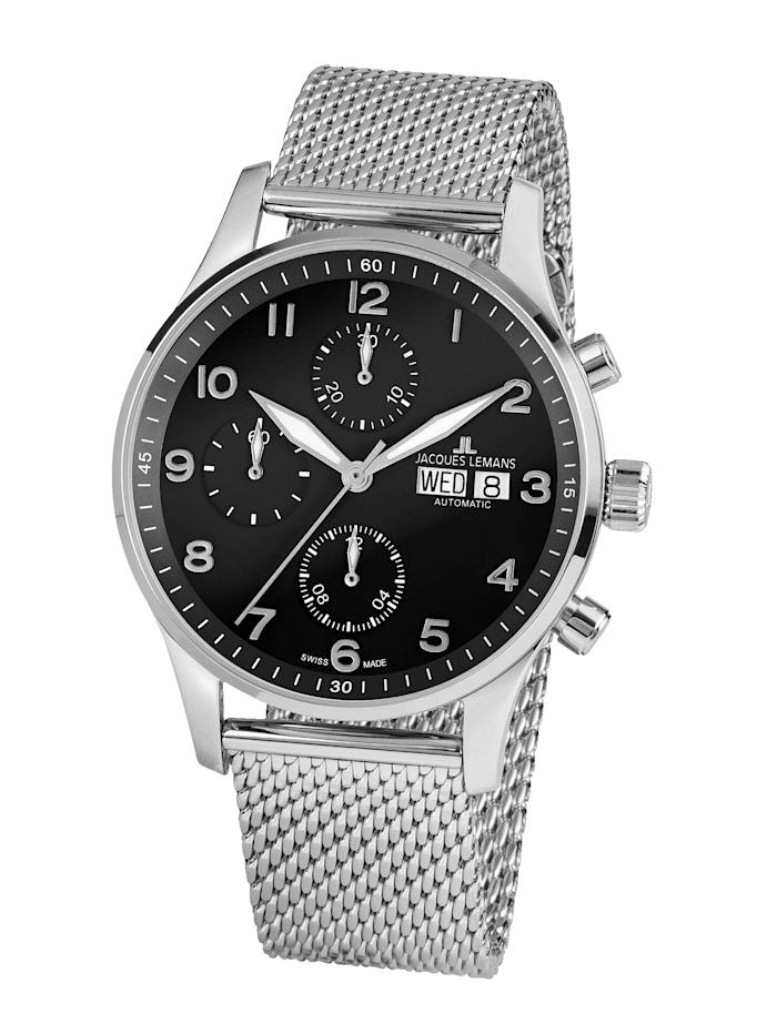 Jacques Lemans Herren- Uhr-Automatik-Chronograph Serie: London Automatic, Kollektion: Classic: 1- 1927D, Silberfarben