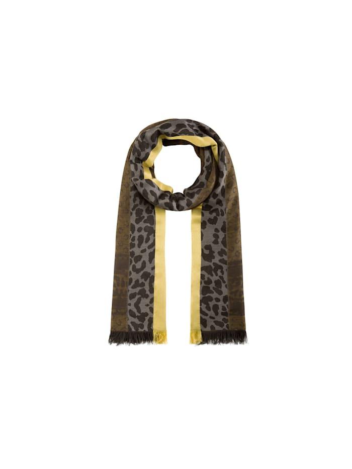 Codello Jacquard-Schal aus Wolle, Baumwolle und Modal, brown
