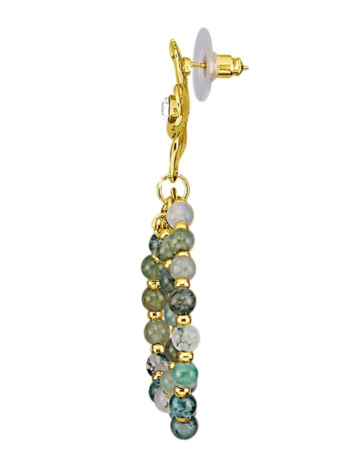 Blüten-Ohrstecker mit Kristallen