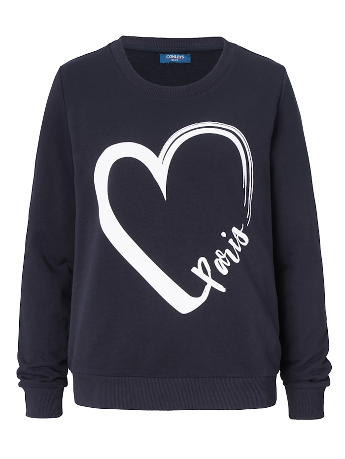 CONLEYS BLUE Sweatshirt mit modischem Paris Druck, Blau