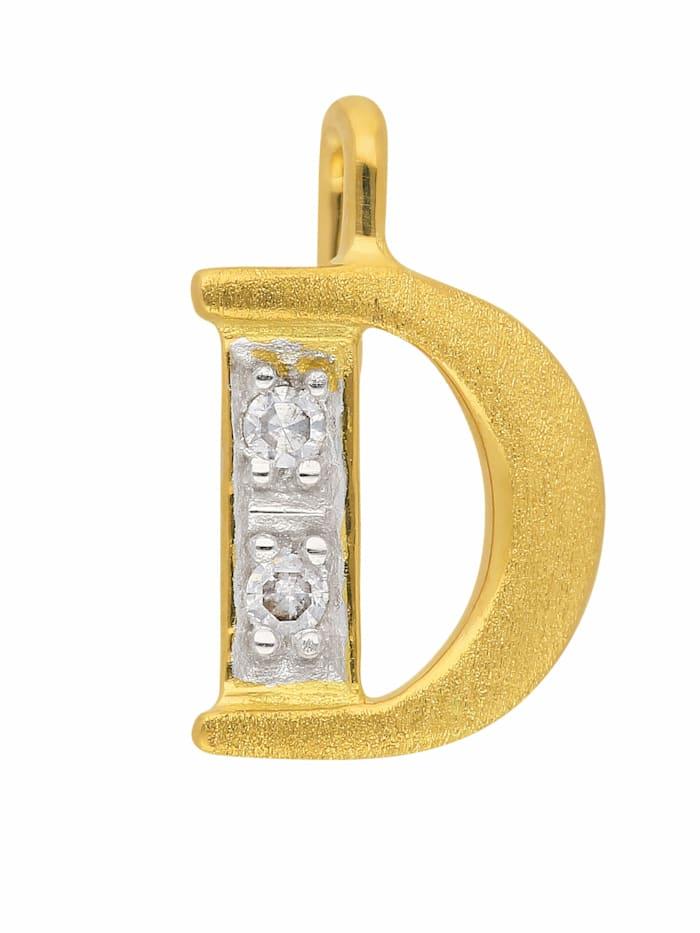 1001 Diamonds 1001 Diamonds Damen & Herren Goldschmuck 585 Gold Buchstabenanhänger mit Diamant, gold