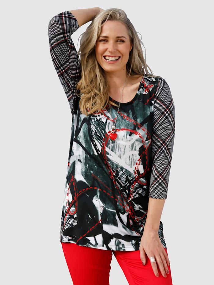 MIAMODA Shirt mit ausgefallenem Mustermix, Schwarz/Weiß/Rot
