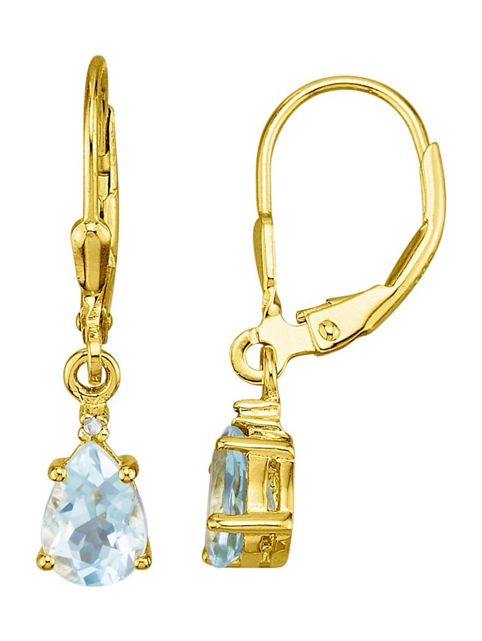Örhängen med akvamarin och diamant, Blå