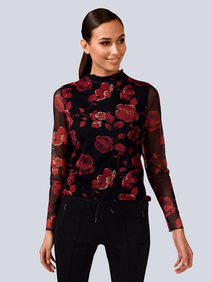 Alba Moda Shirt aus Mesh-Ware, Rot/Schwarz