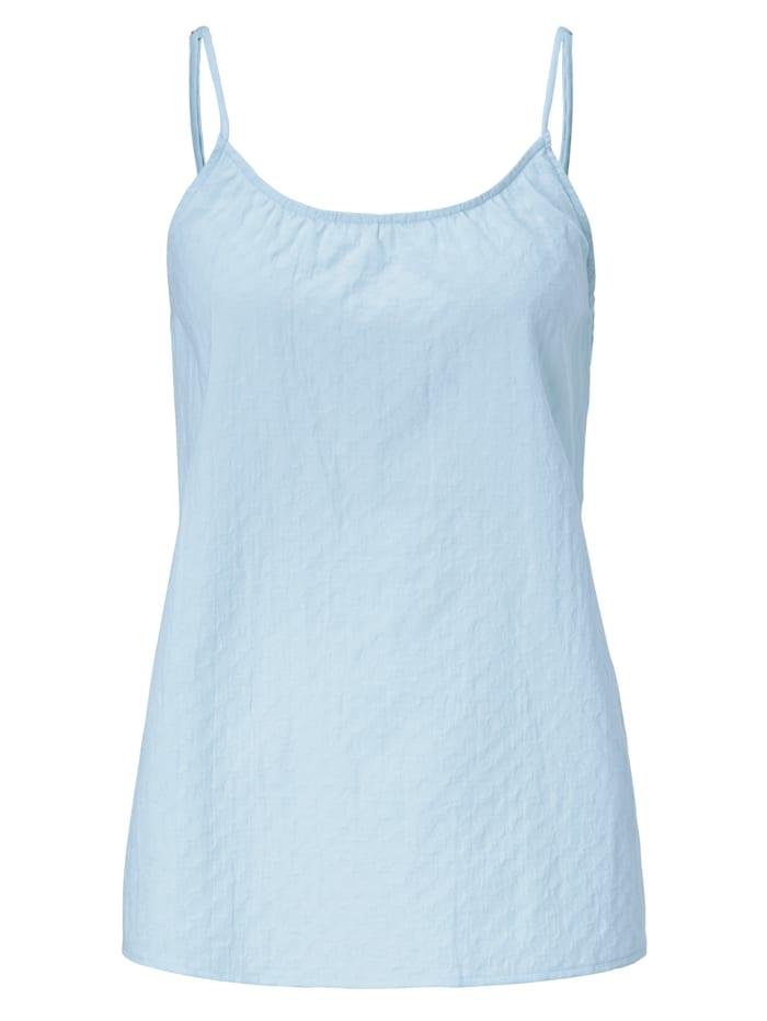 Mellow Peach Pyjama-Top mit Struktur, Hellblau