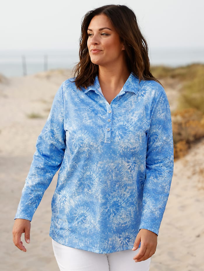 m. collection Sweatshirt in modischer Batik-Optik, Blau/Grau