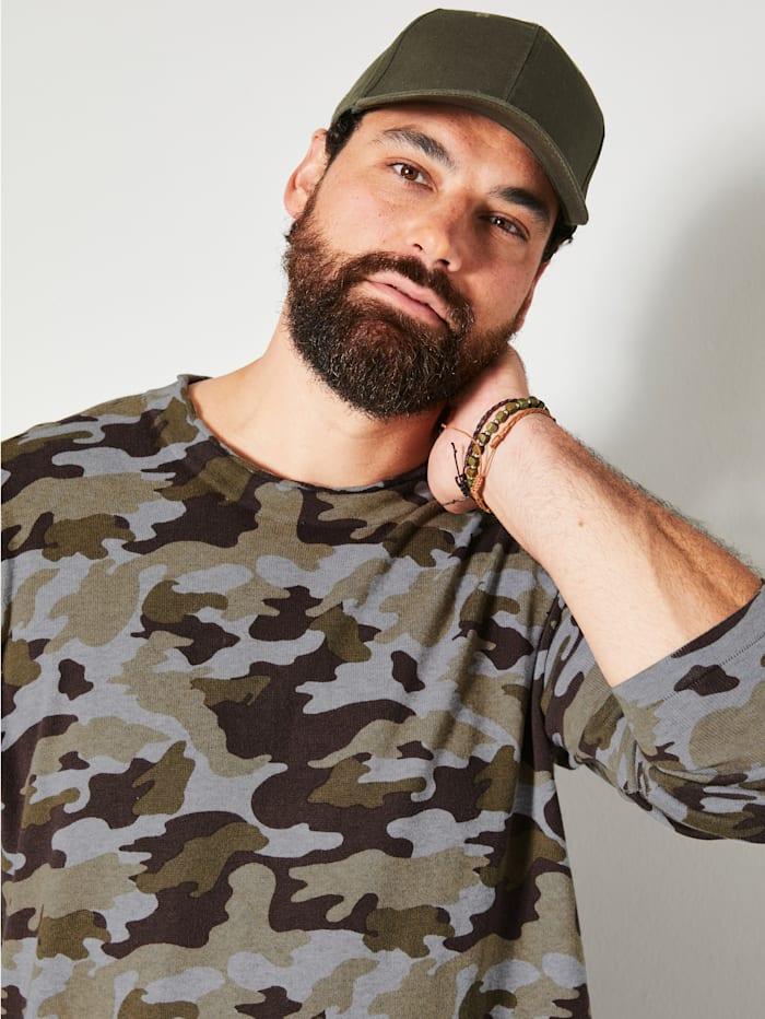 Pulovr s celoplošným potiskem v Camouflage vzhledu
