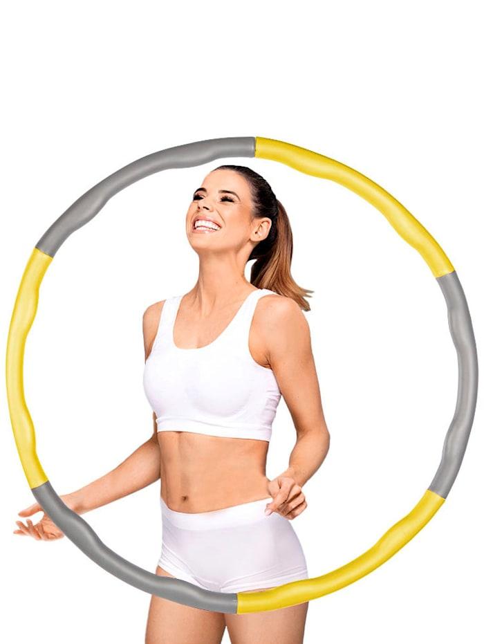 HSP Hanseshopping Hula-Hoop-Reifen, 6 Segmente, zur individuellen Gewichtsänderung befüllbar, Gelb/Grau