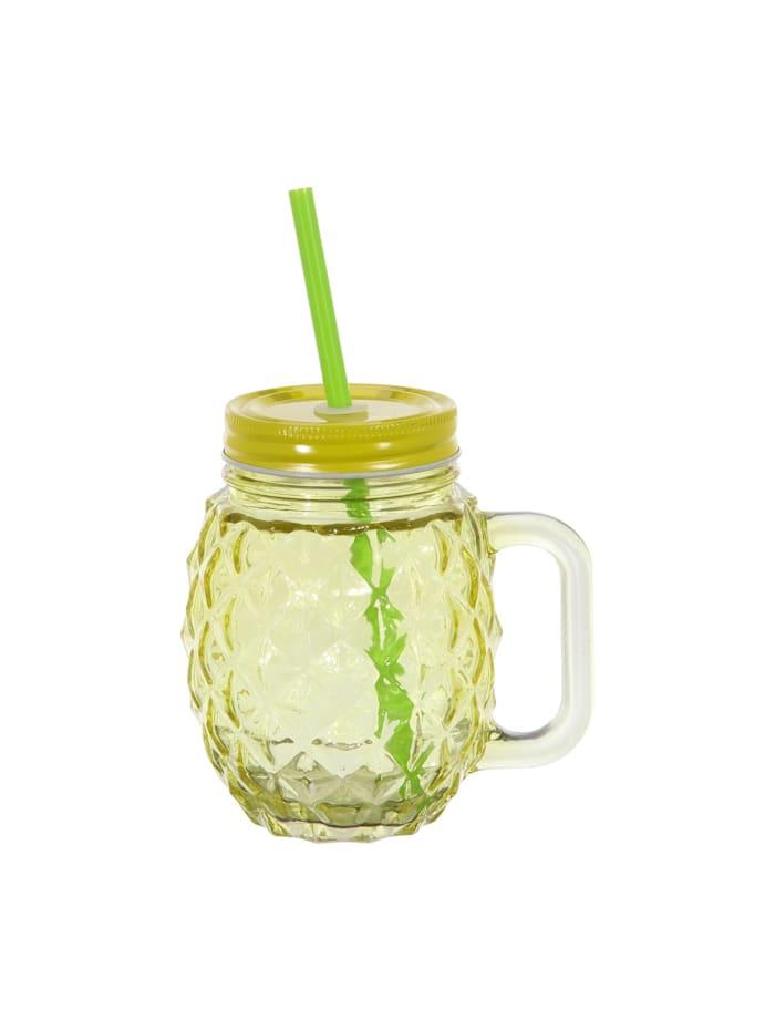 HTI-Living Trinkglas mit Deckel und Trinkhalm Ananas, Gelb