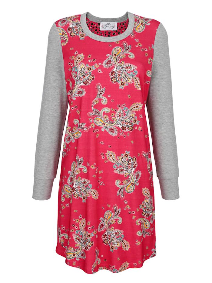 Ringella Bloomy Nachthemd met een mooie patronenmix, Lichtrood/Grijs
