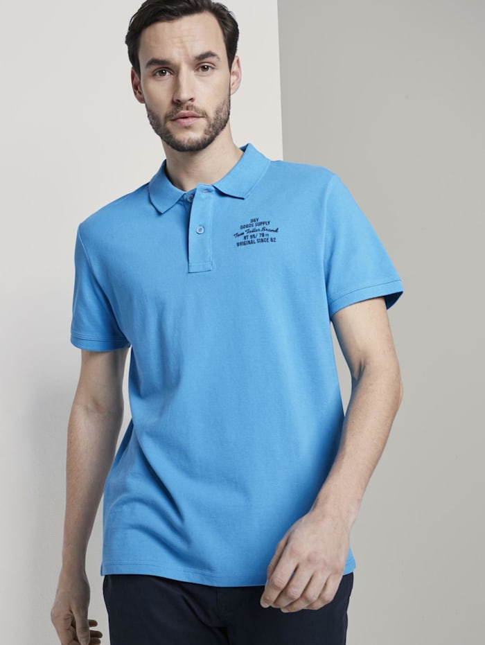 Tom Tailor Basic Poloshirt mit kleiner Stickerei, Day Of Rest Blue