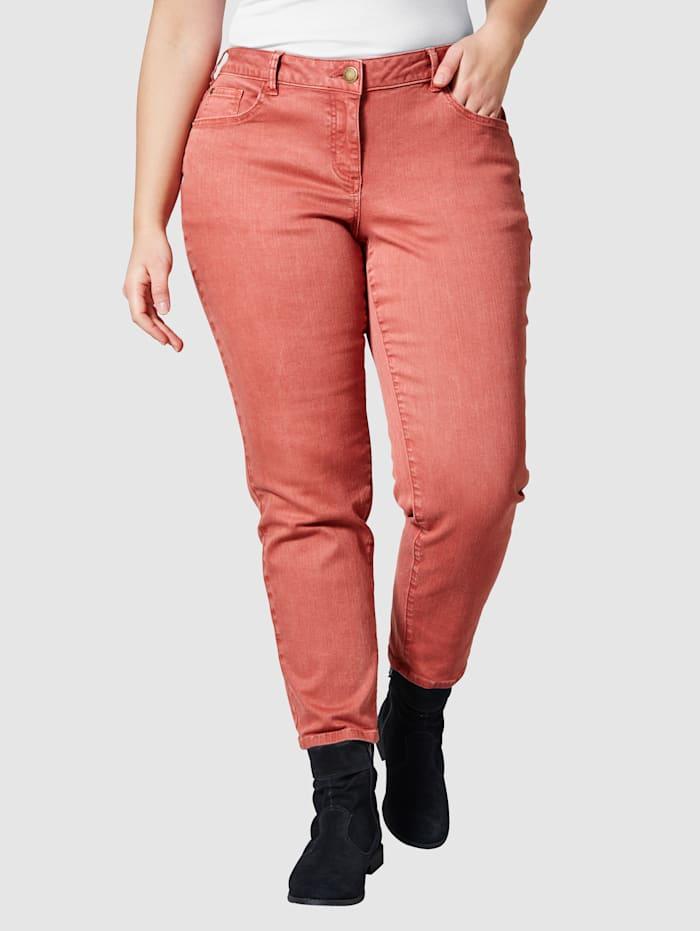 Janet & Joyce Slim Fit Jeans knöchellang in 5-Pocket-Form, Terracotta