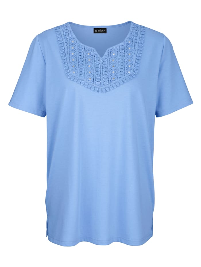 Shirt met kant en siersteentjes