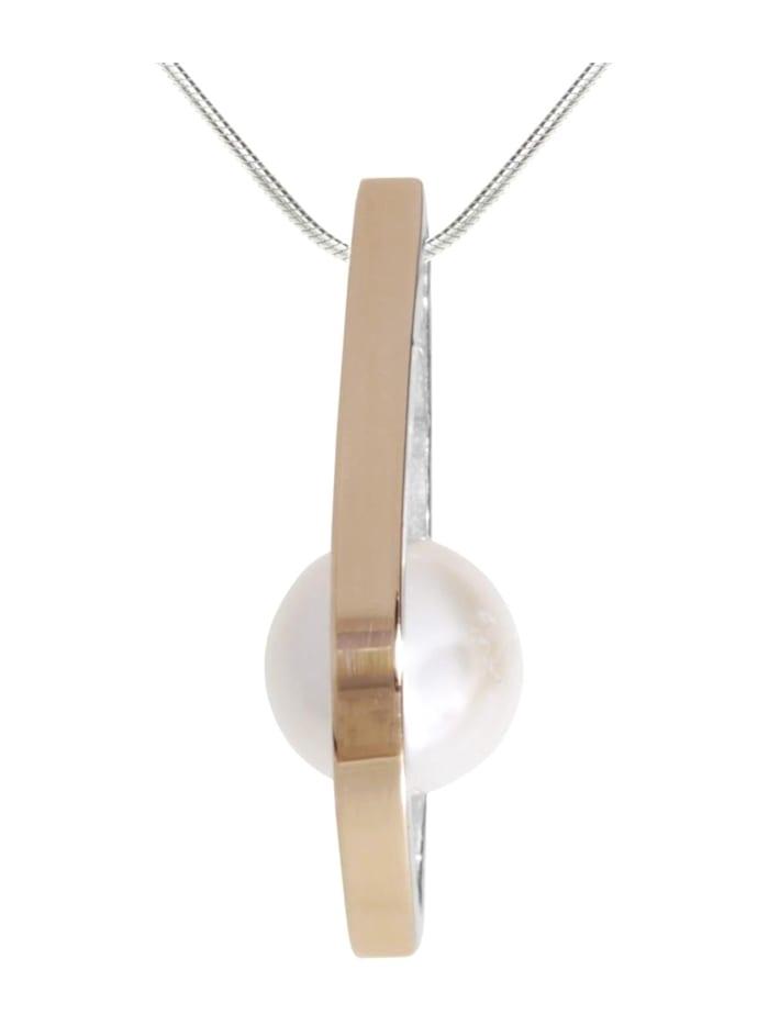OSTSEE-SCHMUCK Kette mit Anhänger - Gleiter-Sunny Exklusiv - Silber 925/000 & Gold 585/000 - Zuchtperle, silber