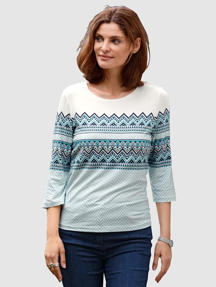 MONA T-shirt à motif norvégien, Écru/Bleu glacier/Pétrole