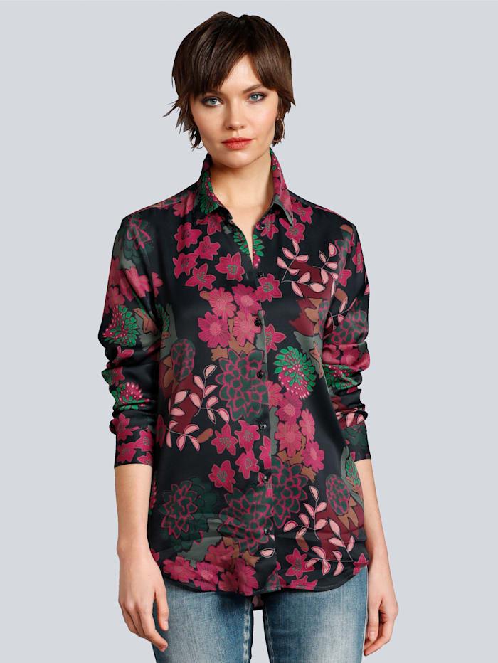 Seidensticker Schwarze Rose Bluse im tollen Blumenprint, Marineblau/Beere