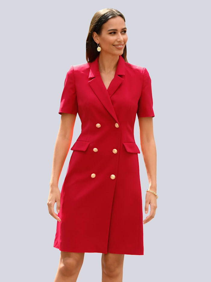 Alba Moda Kleid mit goldfarbenen Knöpfen im Vorderteil, Rot