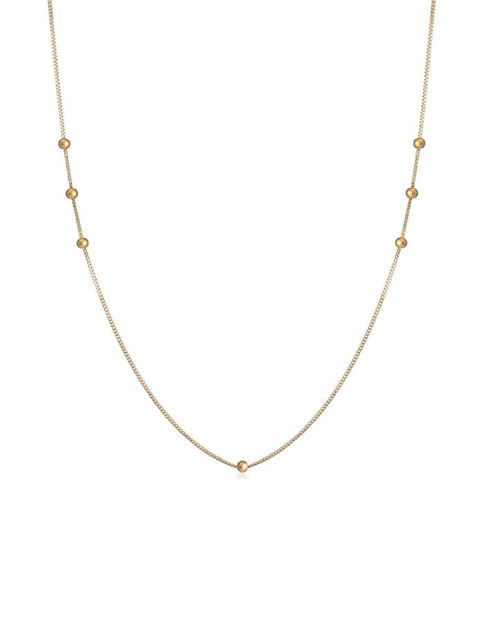Elli Halskette Basic Panzerkette Kugeln Beads Rund 925 Silber, Gold