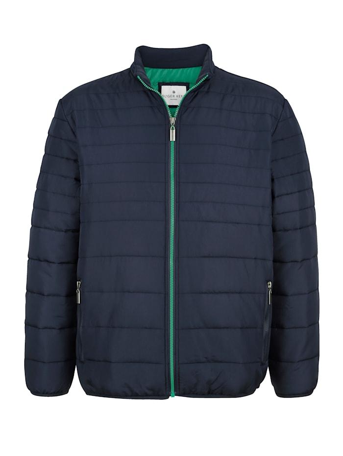Roger Kent Gewatteerde jas met contrastkleurige rits, Marine/Groen