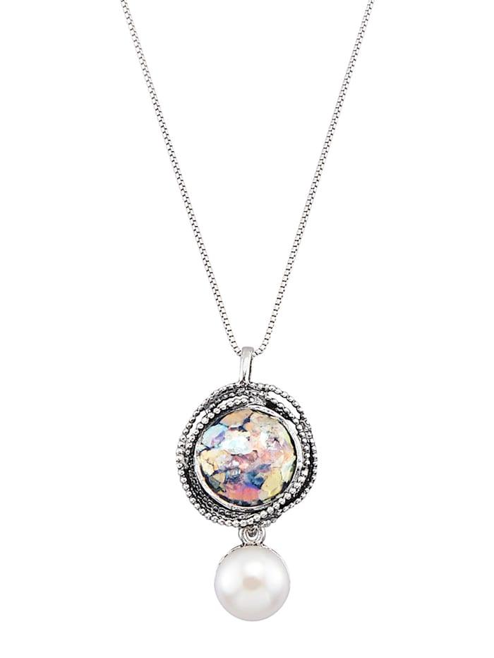 Roman Glass Pendentif + chaîne en argent 925, Coloris argent