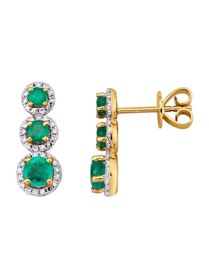 Diemer Farbstein Oorstekers met smaragden en diamanten, Groen