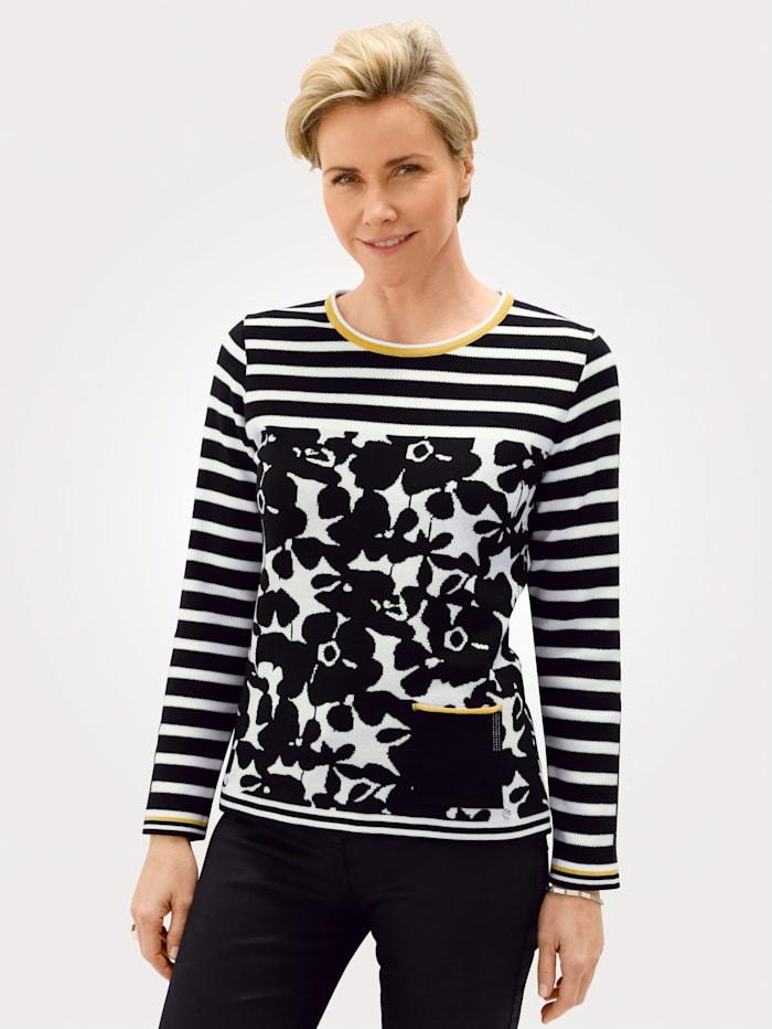 Rabe Pullover mit grafischem Jacquard- Muster, Schwarz/Weiß