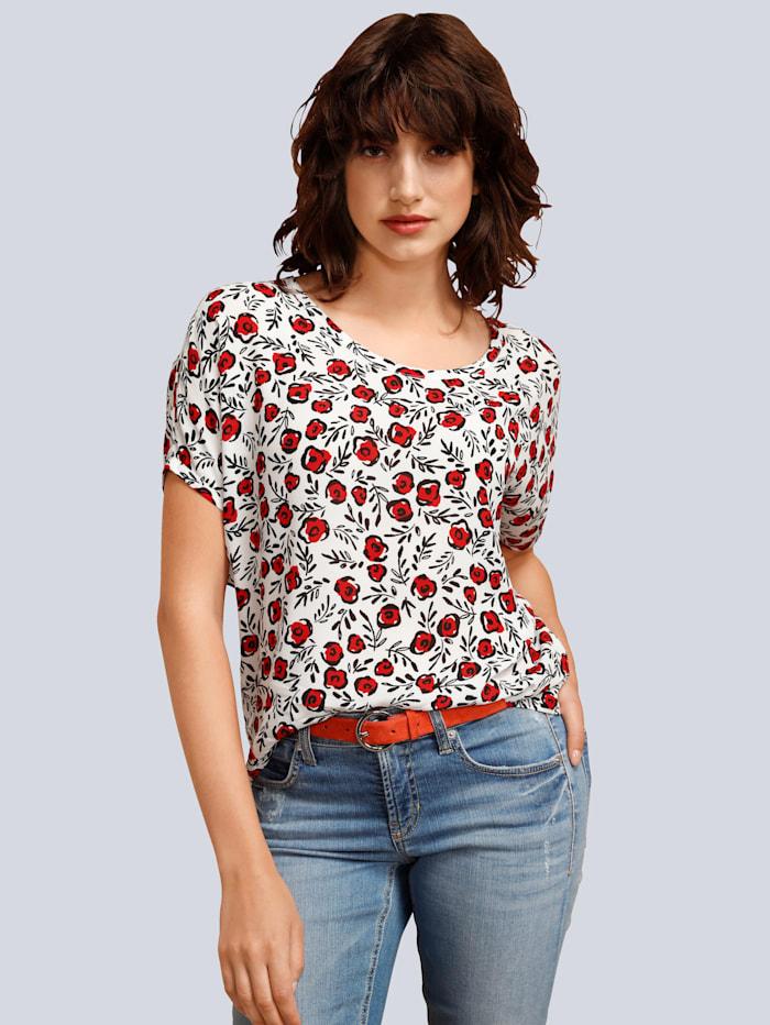 Seidensticker Schwarze Rose Bluse im modischer Blumendruck, Creme-Weiß