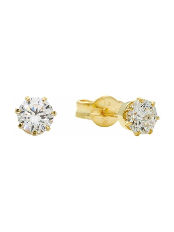 amor Ohrstecker für Damen, Gold 375, Zirkonia, Gold