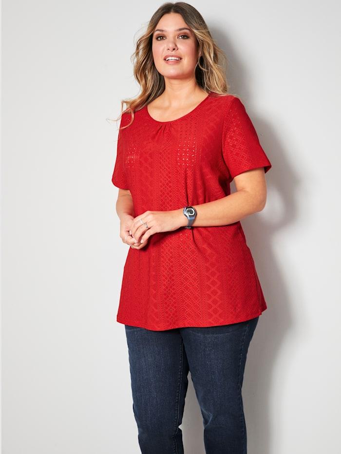 Janet & Joyce Shirt in Ajourstruktur, Rot