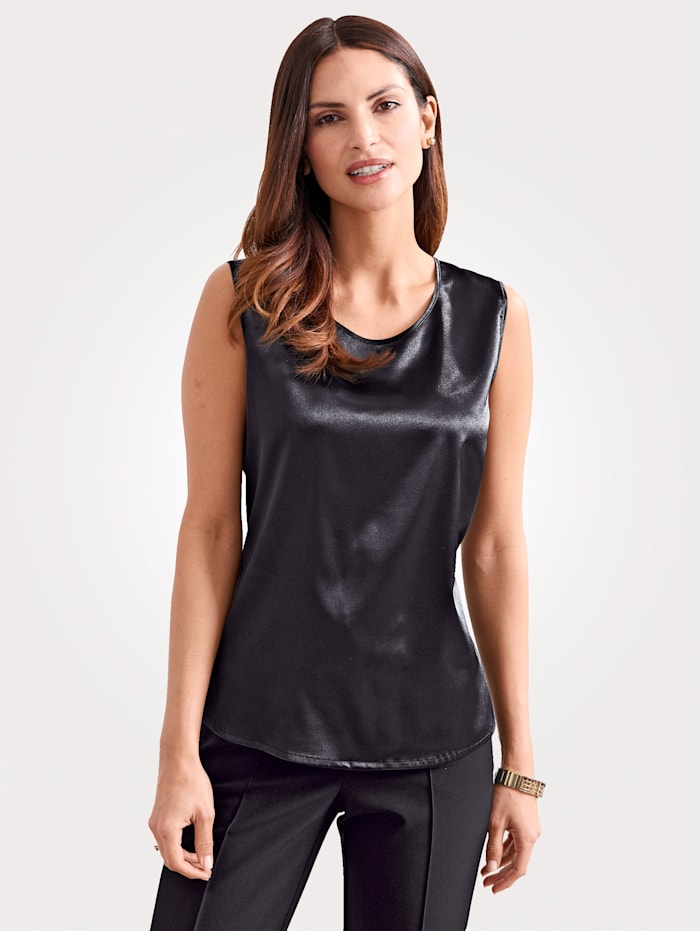 MONA Top made from elegant satin, Black