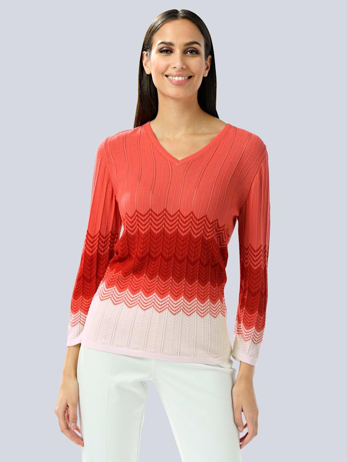 Alba Moda Pullover im feinen Strukturstrick, Off-white/Koralle