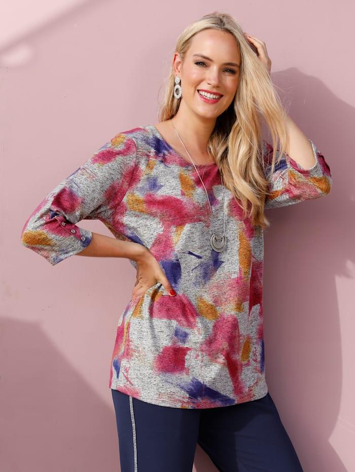 MIAMODA T-shirt en maille fine à boutons fantaisie aux manches, Multicolore