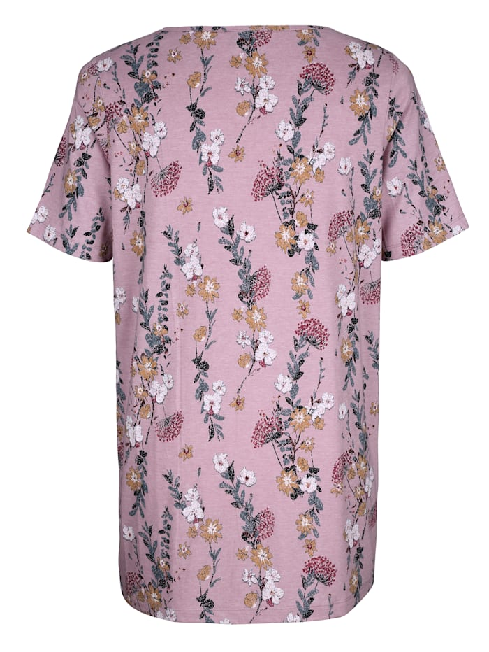T-shirt long à imprimé floral devant et dos