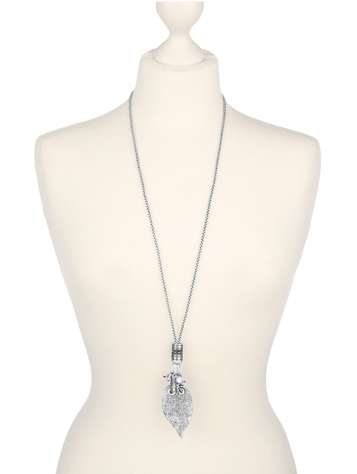 Halskette mit Blattelement, Silberfarben
