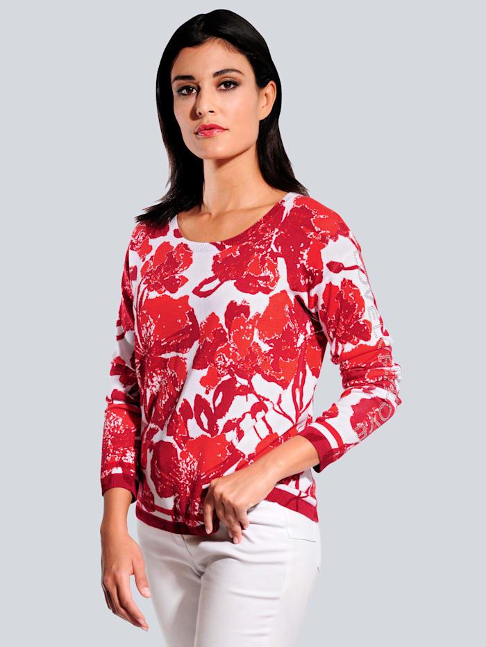 Alba Moda Pullover mit exklusivem Dessin, Rot/Weiß