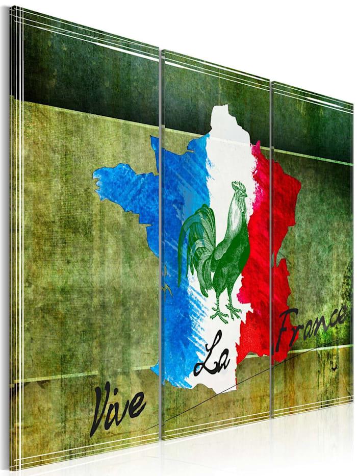 artgeist Wandbild Vive la France - Triptychon, Beige,Blau,Grün,Rot,Weiß